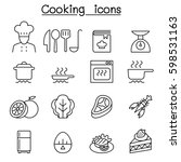 cooking icon set in thin line... | Shutterstock .eps vector #598531163