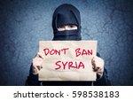 muslim girl in black hijab... | Shutterstock . vector #598538183