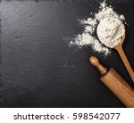 wooden spoon with flour  a... | Shutterstock . vector #598542077
