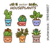cute lovely kawaii houseplants... | Shutterstock .eps vector #598548857