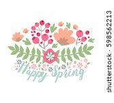 spring typographic flower... | Shutterstock .eps vector #598562213