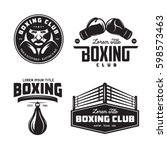 boxing club labels emblems... | Shutterstock .eps vector #598573463
