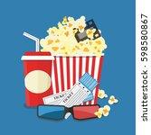 popcorn and drink. film strip... | Shutterstock .eps vector #598580867