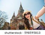 asia travel selfie asian woman...   Shutterstock . vector #598595813