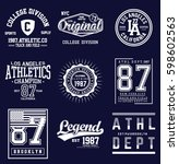 college athletics typography... | Shutterstock .eps vector #598602563