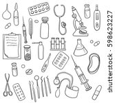 doodle set of medical equipment ...