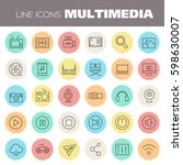 inline multimedia icons... | Shutterstock .eps vector #598630007