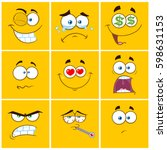 yellow cartoon square emoticons ... | Shutterstock .eps vector #598631153