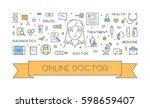vector line web concept of... | Shutterstock .eps vector #598659407