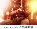 an unrecognizable musician...   Shutterstock . vector #598673957