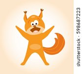 happy squirrel. vector... | Shutterstock .eps vector #598687223