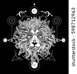 ornamental tattoo lion head.... | Shutterstock .eps vector #598712963