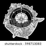 antique compass and floral... | Shutterstock .eps vector #598713083