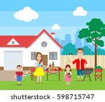 happy family making grill... | Shutterstock .eps vector #598715747