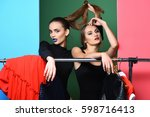 two pretty girls or sexy women  ... | Shutterstock . vector #598716413