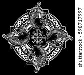 celtic cross tattoo art and t... | Shutterstock .eps vector #598717997