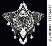 butterfly tattoo art  celtic... | Shutterstock .eps vector #598723157
