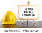 safety helmet and white board... | Shutterstock . vector #598726463