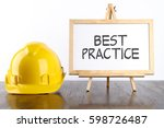 safety helmet and white board... | Shutterstock . vector #598726487