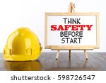 safety helmet and white board... | Shutterstock . vector #598726547