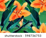 trendy tropical jungle style... | Shutterstock .eps vector #598736753