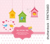 the spring time card template.... | Shutterstock .eps vector #598743683