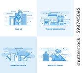 modern flat color line designed ... | Shutterstock .eps vector #598745063