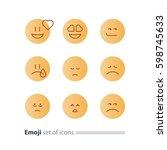 set of flat yellow emoji icons  ... | Shutterstock .eps vector #598745633