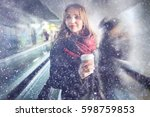 girl morning coffee on the... | Shutterstock . vector #598759853