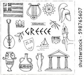 hand drawn greece travel... | Shutterstock .eps vector #598765607