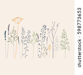 floral vector background with... | Shutterstock .eps vector #598773653