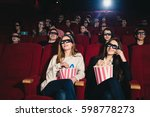 two friends in the cinema on... | Shutterstock . vector #598778273