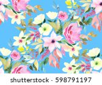 Stock photo watercolor seamless pattern floral print 598791197