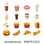 set fast food icon. cup cola ... | Shutterstock .eps vector #598791323