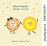 cute vector illustration donut... | Shutterstock .eps vector #598795097