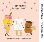 cute vector illustration ice... | Shutterstock .eps vector #598795103