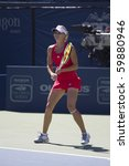 CARLSBAD, CA - AUGUST 07: Maria Kirilenko of Russia participates in a doubles exhibition at the Mercury Insurance Open at La Costa Resort and Spa in Carlsbad, CA, on August 7, 2010. - stock photo