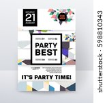 invitation disco party poster... | Shutterstock .eps vector #598810343