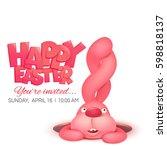pink bunny in hole. happy...   Shutterstock .eps vector #598818137
