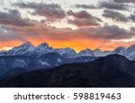 majestic sunset in the mountains | Shutterstock . vector #598819463