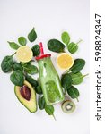 smoothies green. drink cocktail ... | Shutterstock . vector #598824347