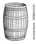 barrel illustration  drawing ... | Shutterstock .eps vector #598831223
