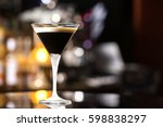 glass of black russian cocktail ... | Shutterstock . vector #598838297