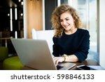 happy young beautiful woman... | Shutterstock . vector #598846133