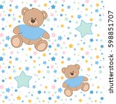 seamless pattern with teddy... | Shutterstock .eps vector #598851707