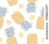 background with fresh exotic...   Shutterstock .eps vector #598861097