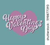 happy vd. valentines day card.... | Shutterstock .eps vector #598877393