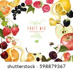 vector fruit and berry mix... | Shutterstock .eps vector #598879367