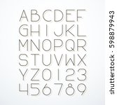 vector thin line font with... | Shutterstock .eps vector #598879943