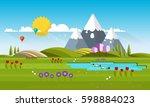 beautiful vector spring... | Shutterstock .eps vector #598884023